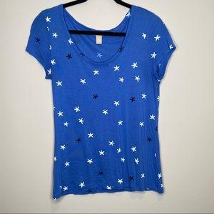 Banana Republic blue star print short sleeve top S
